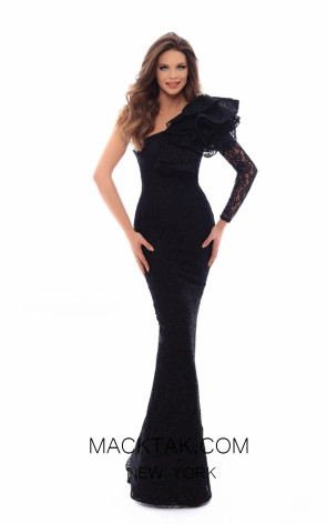 Tarik Ediz 93610 Black Front Evening Dress