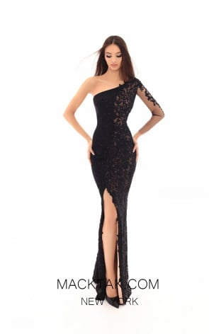 Tarik Ediz 93614 Black Front Evening Dress
