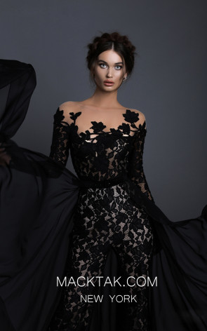Tarik Ediz 93630 Black Front Evening Dress