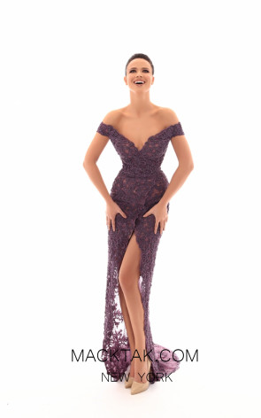 Tarik Ediz 93632 Lavender Front Evening Dress
