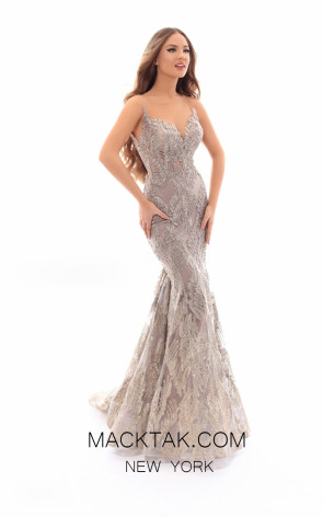 Tarik Ediz 93651 Vision Front Evening Dress