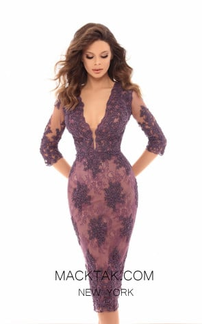 Tarik Ediz 93655 Lavender Front Evening Dress