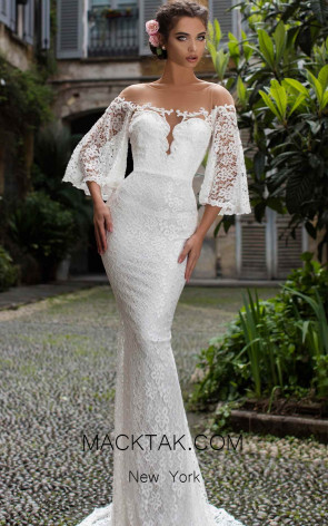 Tarik Ediz 93671 Ivory Front Evening Dress