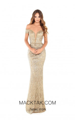 Tarik Ediz 93680 Gold Dress