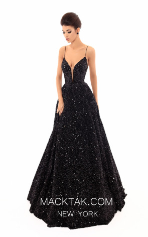 Tarik Ediz 93699 Black Front Evening Dress
