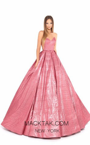 Tarik Ediz 93711 Pink Front Evening Dress