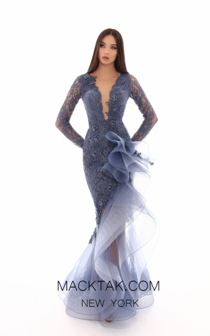 Tarik Ediz 93714 Smoke Blue Front Evening Dress