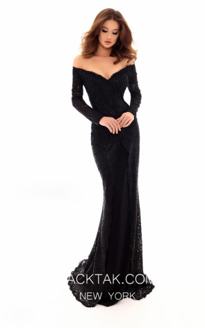 Tarik Ediz 93718 Black Front Evening Dress