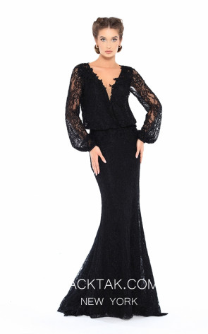 Tarik Ediz 93736 Black Front Evening Dress