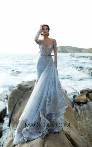 Tarik Ediz 93754 Cloudy Blue Front Evening Dress