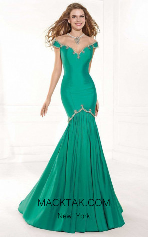 Tarik Ediz 92379 Teal Front Dress