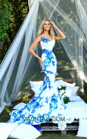 Tarik Ediz 50228 Blue Dress