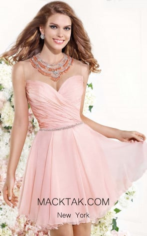 Tarik Ediz 90377 Front Salmon Dress