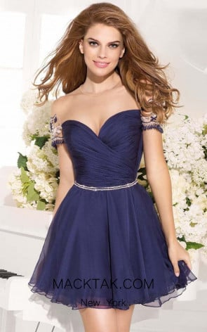 Tarik Ediz 90380 Front Navy Dress