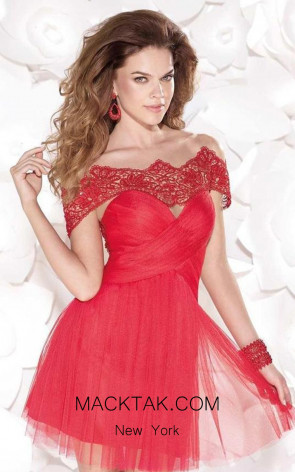 Tarik Ediz 90407 Front Red Dress