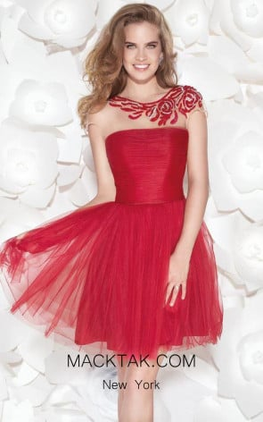 Tarik Ediz 90408 Front Red Dress