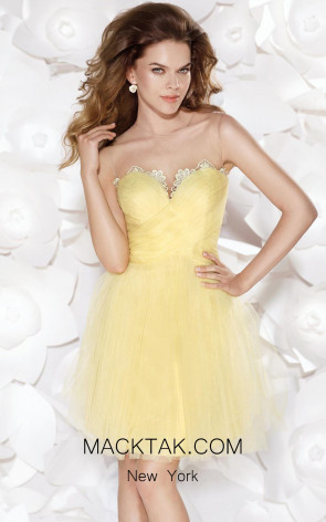 Tarik Ediz 90409 Front Yellow Dress