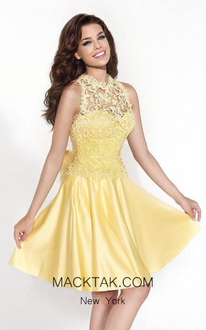 Tarik Ediz 90419 Volante Yellow Front Dress
