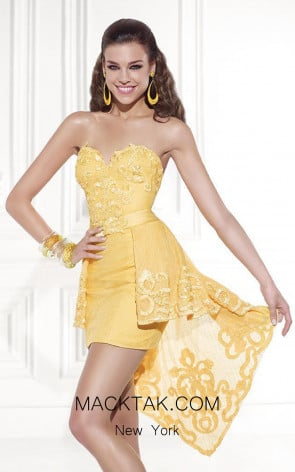 Tarik Ediz 90448 Puchet Front Yellow Dress