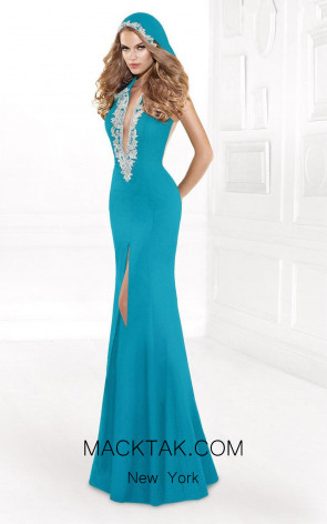 Tarik Ediz 92403 Front Blue Dress