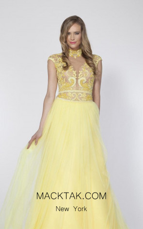Tarik Ediz 92414 Front Yellow Dress