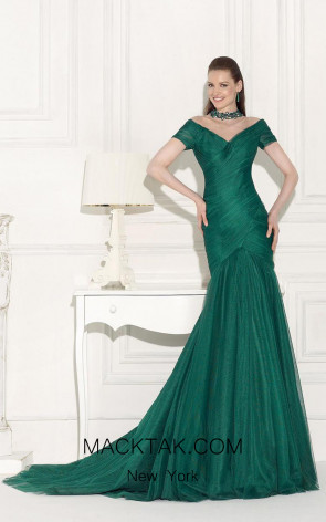 Tarik Ediz 92511 Front Green Dress