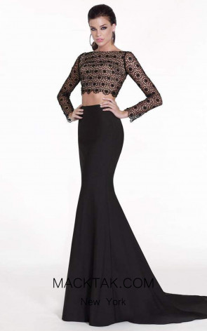 Tarik Ediz 92535 Havin Front Black Dress