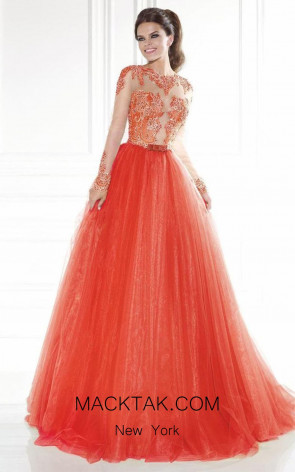 Tarik Ediz 92579 Prianca Front Orange Dress