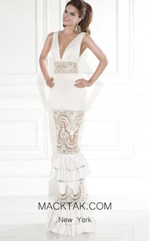 Tarik Ediz 92589 Rio White Front Dress