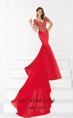 Tarik Ediz 92665 Front Red Dress