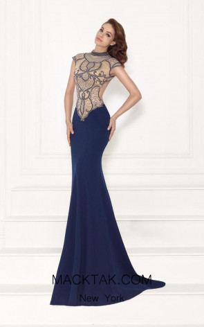Tarik Ediz 92717 Front Navy Dress