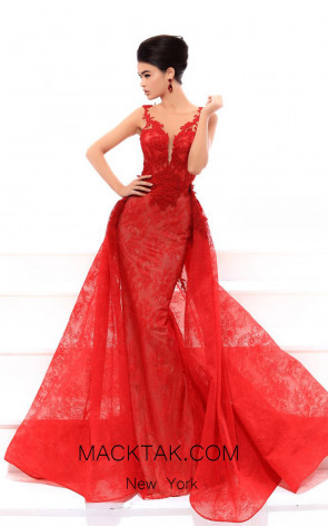 Tarik Ediz 93439 Red Front Evening Dress