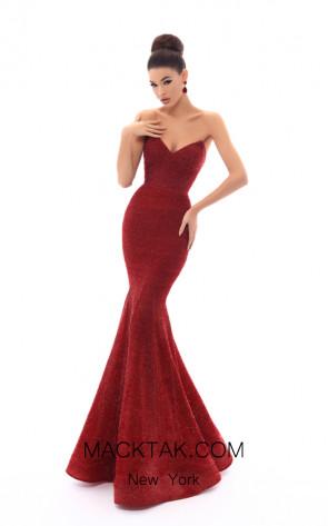 Tarik Ediz 93612 Red Front Dress