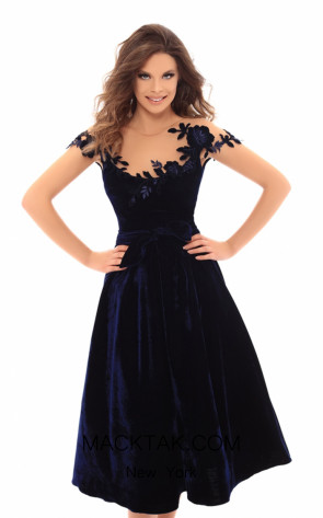 Tarik Ediz 93668 Navy Front Dress