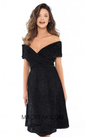 Tarik Ediz 93750 Black Front Dress