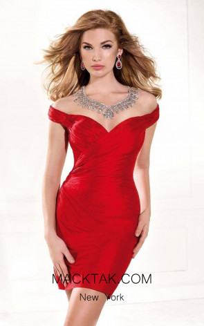 Tarik Ediz 90367 Front Red Dress