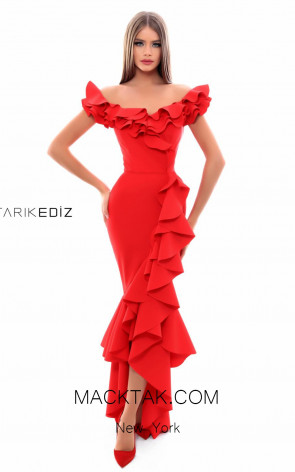 Tarik Ediz 50350 Red Front Evening Dress