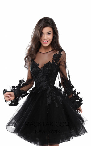 Tarik Ediz 50414 Black Front Prom Dress