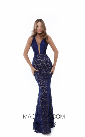 Tarik Ediz 50430 Navy Front Prom Dress