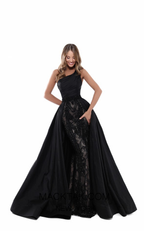 Tarik Ediz 50435 Black Front Prom Dress