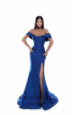 Tarik Ediz 50448 Navy Front Prom Dress