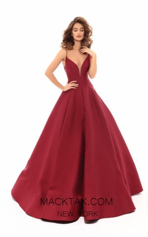 Tarik Ediz 50456 Wine Front Prom Dress