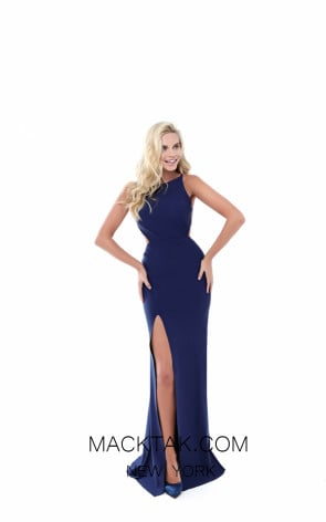 Tarik Ediz 50499 Navy Front Prom Dress
