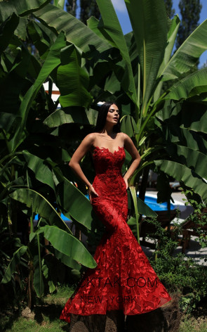 Tarik Ediz 50501 Red Front Prom Dress