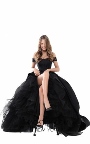 Tarik Ediz 50509 Black Front Prom Dress