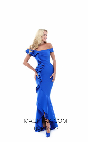 Tarik Ediz 50514 Royal Blue Front Prom Dress