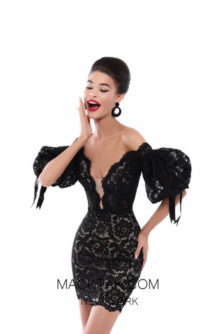 Tarik Ediz 50533 Black Front Prom Dress