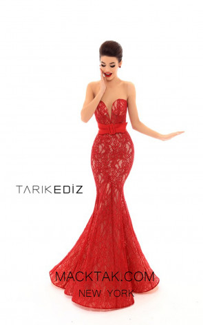 Tarik Ediz 93611 Red Front Prom Dress