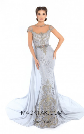 Tarik Ediz 93757 Cloudy Blue Front Evening Dress