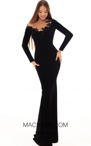 Tarik Ediz 93663 Black Front Dress